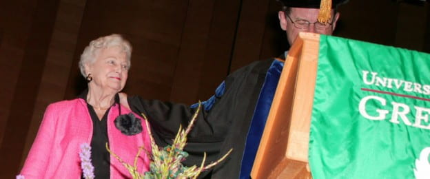 Nancy Stiles beign presented with the Chancellor's Award