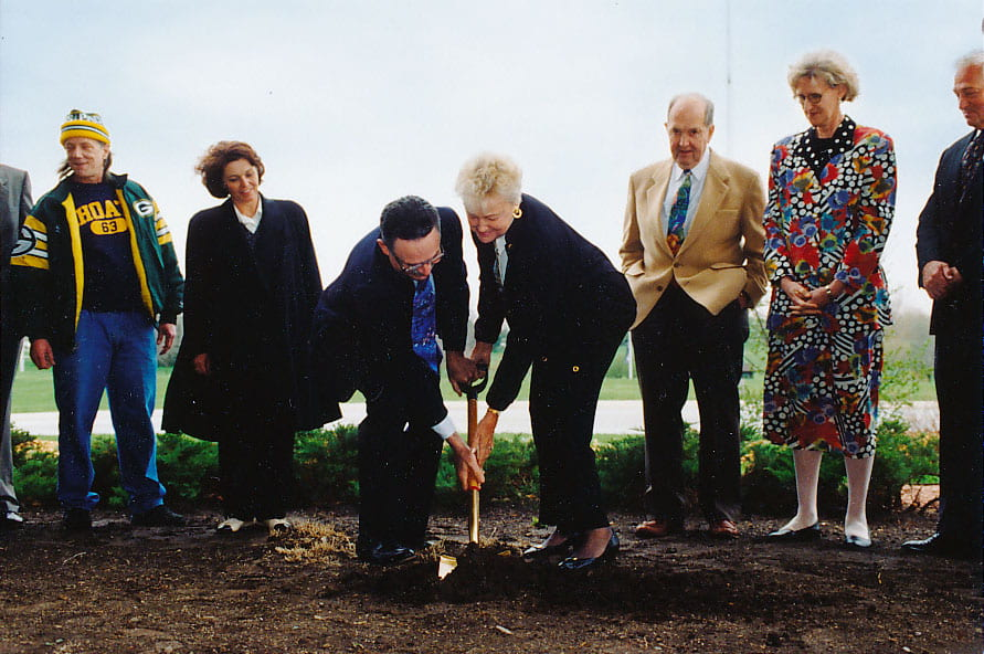 Nancy Stiles at the groundbreaking of the original Weidner Center construction.