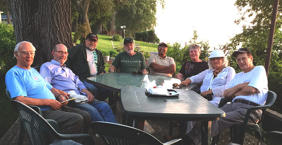 June 23, 2015 Book Club Meeting Left to right: Peter Kellogg, Larry Smith, Ben Cruz-Uribe, Bob Wenger, Naresh Rimal, Sherry Lacenski, Jacqulyn Jahnke, and Tom Nesslein.