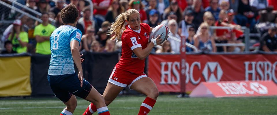 Megan Lukan playing rugby with Canadian Olympic Team