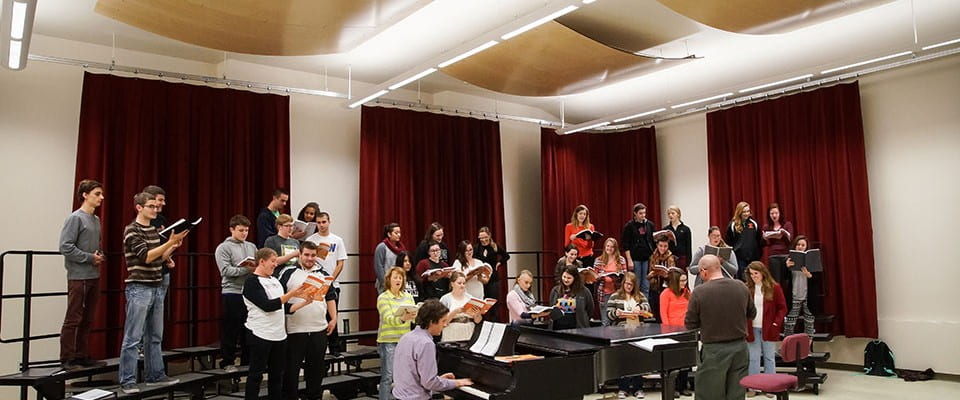 Choral class in new rehearsal space