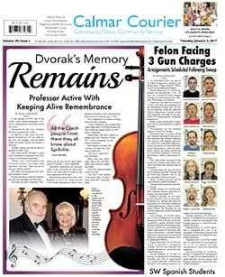 Dvorak's Memory Remains Calmar Courier Cover Story