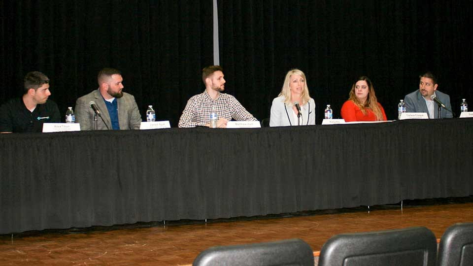 Left to right: Alex Tilton '14, Business Administration; Jared Spude, '15 Political Science and Public Administration; Matthew Hart '16 Computer Science; Kelly Williams, '94 Organizational Communication; Carlene Frisque, '13 Finance and History; David Zey '99, Computer Science