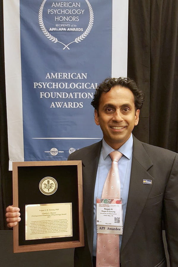 Prof. Gurung 2017 Charles L. Brewer Distinguished Teaching of Psychology Award, August 7, 2017 at the APA 125th Annual Convention