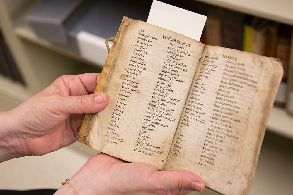A ca.1735 Spanish/Nahualt (Indigenous language of Mexico) dictionary from the Archives' Rare Books collection.