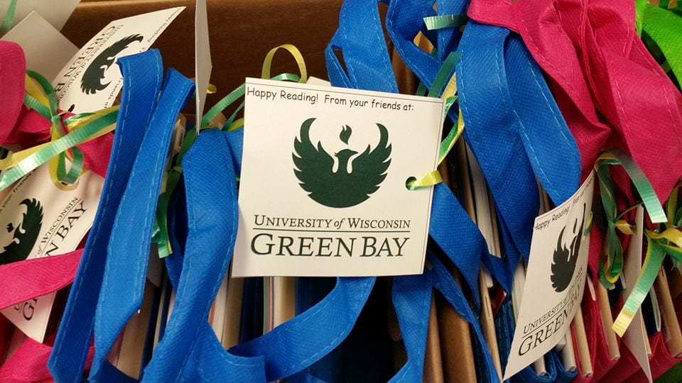 Book totes with UW-Green Bay tags