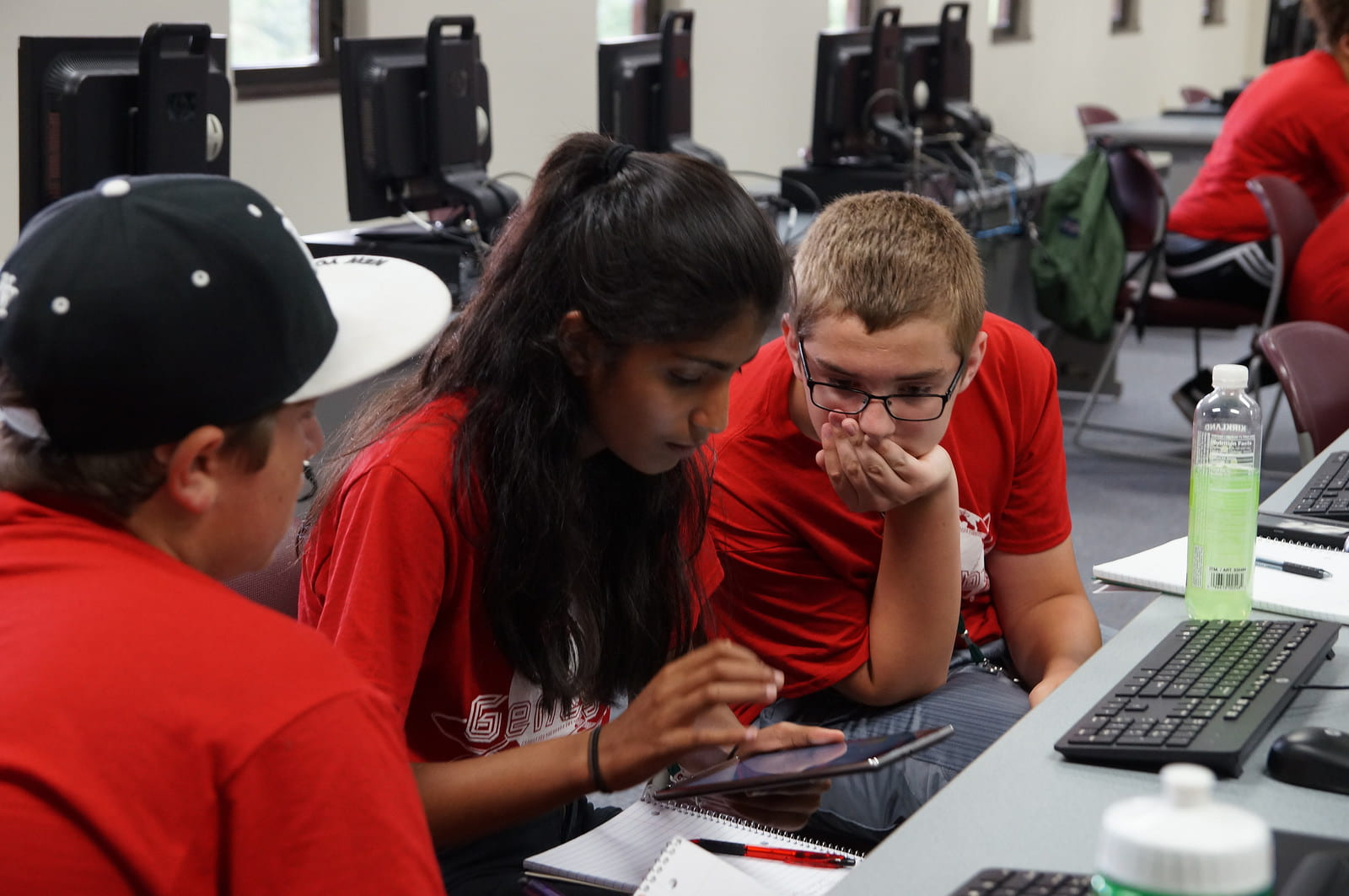GenCyber campers using a mobile device