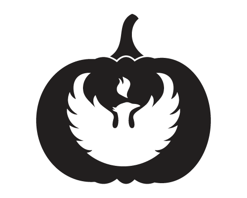 Phoenix Emblem Pumpkin Carving Pattern