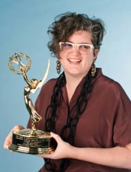 Jeanelle Marie with her Emmy