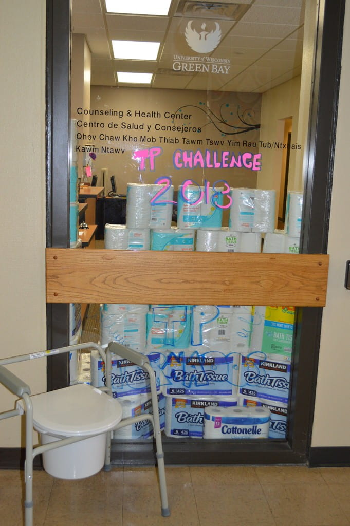 TP on display in the window Counseling and Health Center