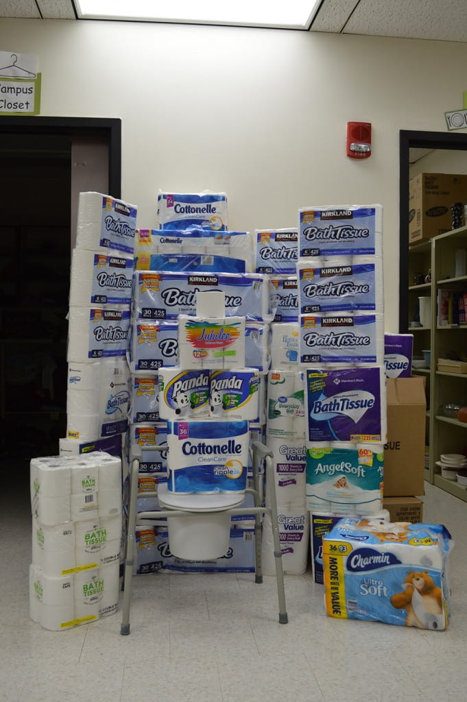Donated toilet paper packages