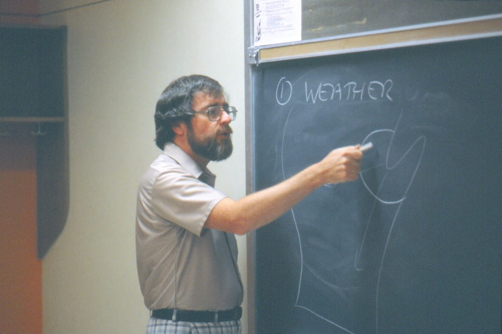 Joseph Moran at blackboard in 1982