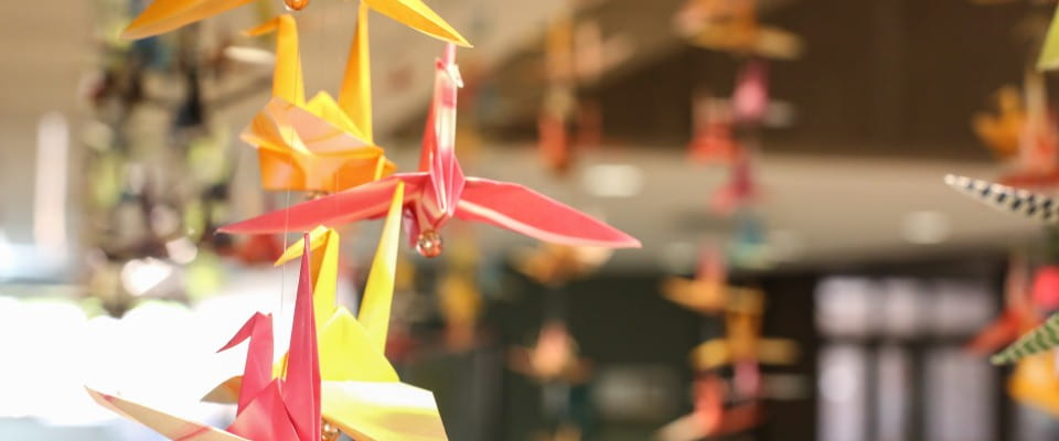Peace Cranes in Library Commons