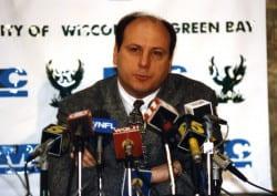Mike Heideman at a press conference April 3, 1995