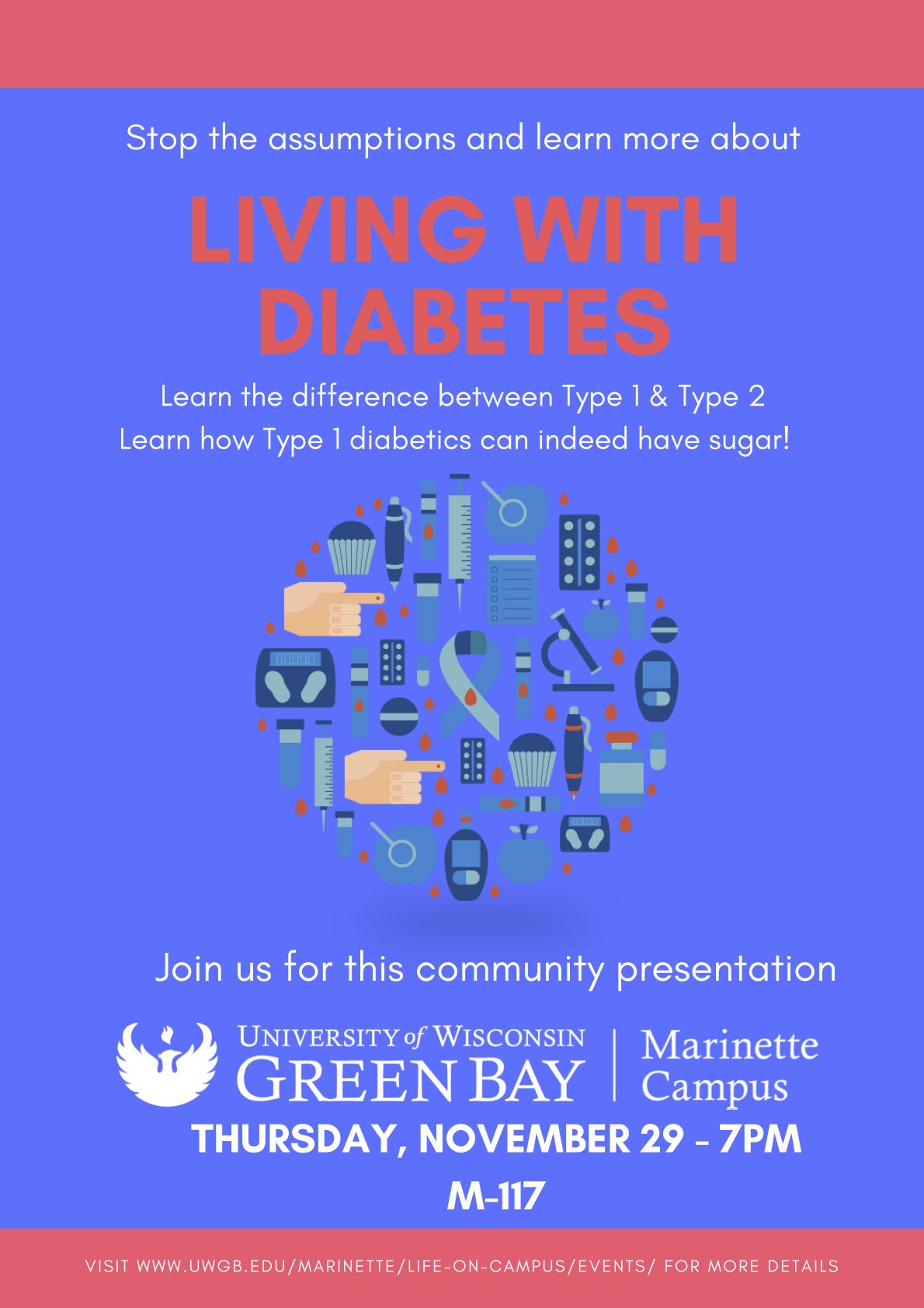 Poster: Living with Diabetes Thurs. Nov. 29, 2018