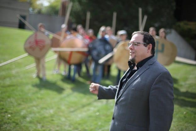 Greg Aldrete leading Greek Hoplite battle reenactment
