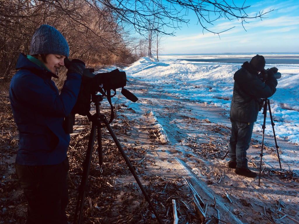 Green Bay Audubon Student Conservation Chapter birding using spotting scopes