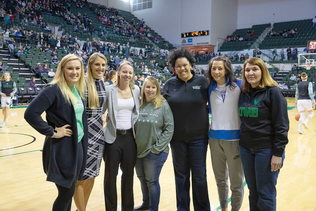 Pictured, left to right, Sam Terry, Kayla Tetschlag, Amanda (Leonhard) Perry, Sue (Klaubauf) Bodilly, Lavessa (Glover) Verhagen, Erin (Templin) Barkley and Nancy (Cieslewicz) Strong.