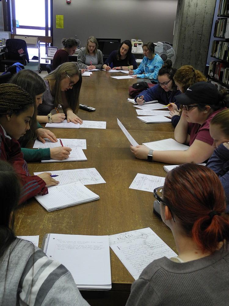 UW-Green Bay Spanish Language students transcribing archives