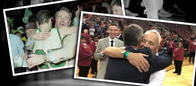 Bennet embrace, then and now