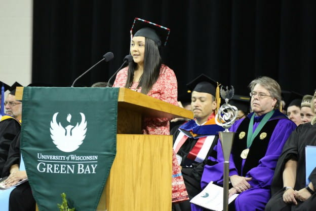 Graduating Class Speaker Yuntlekalau McLester encourages graduates to be purposeful