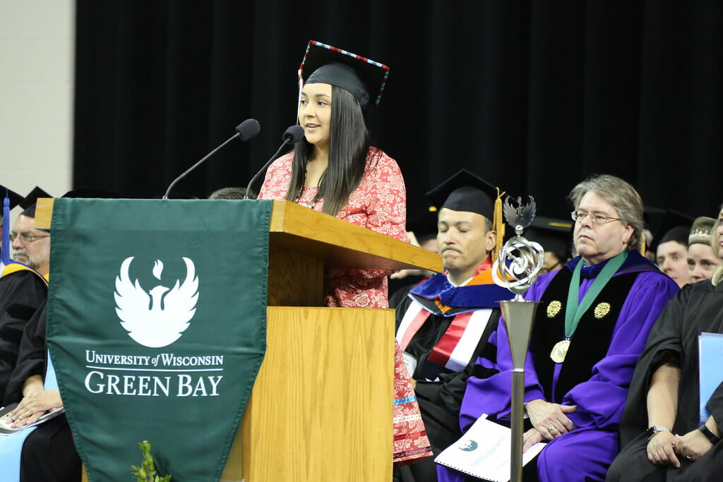 Graduating Class Speaker Yuntlekalau McLester encourages graduates to be purposeful