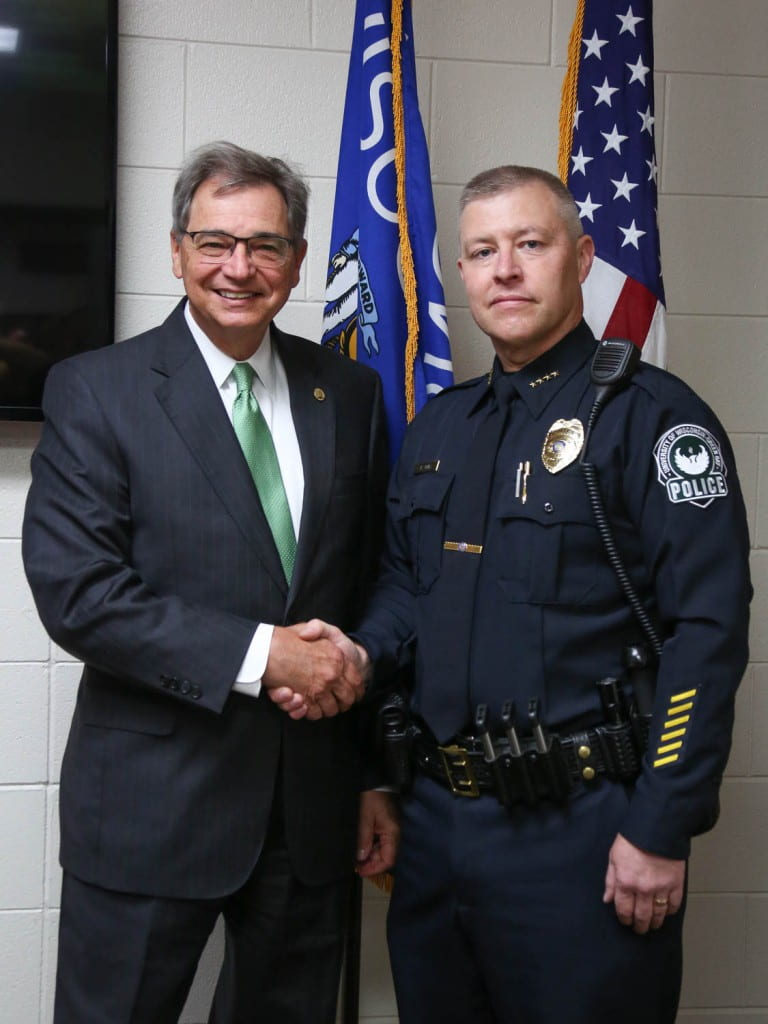Chancellor Miller and newly sworn in Chief of Police Dave Jones.