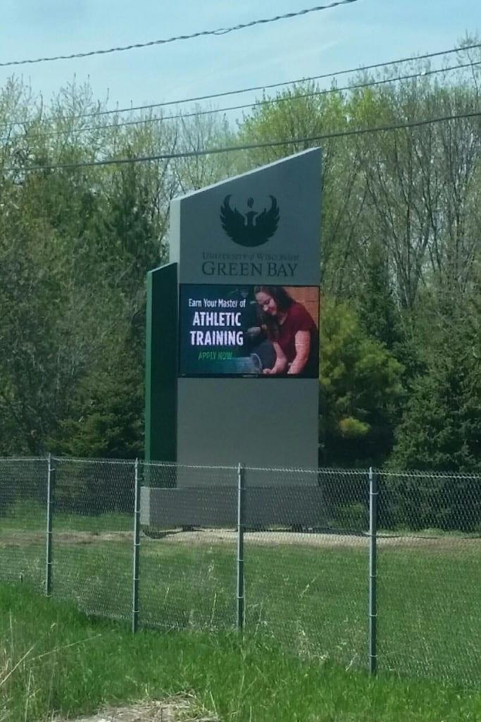 UW-Green Bay highway 57 sign with digital maruqee board
