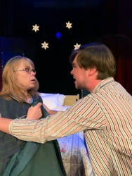 Rebecca Stone Thornberry as Rachel (left) and Noah Steffen as Tom Sr. (right)