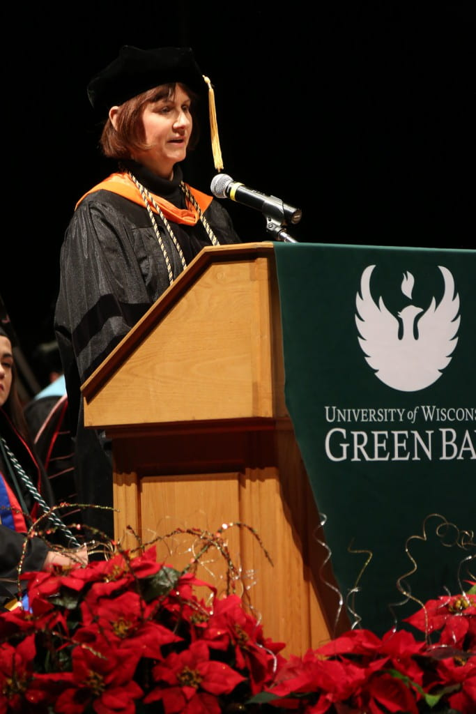 Prof. Patricia Terry giving the UW-Green Bay Commencement Address