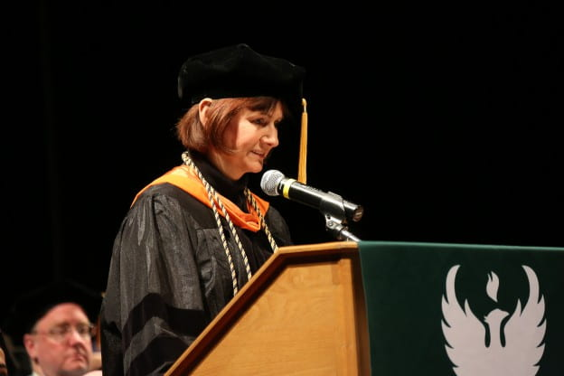 Prof. Patricia Terry giving her commencement address