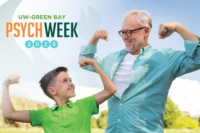 Psych Week 2020, boy and graying man flexing muscles