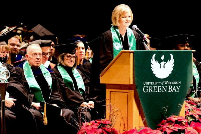 UW-Green Bay's Interim Chancellor Sheryl Van Gruensven gives the opening remarks at the winter 2019 Commencement ceremony at the UW-Green Bay Weidner Center.