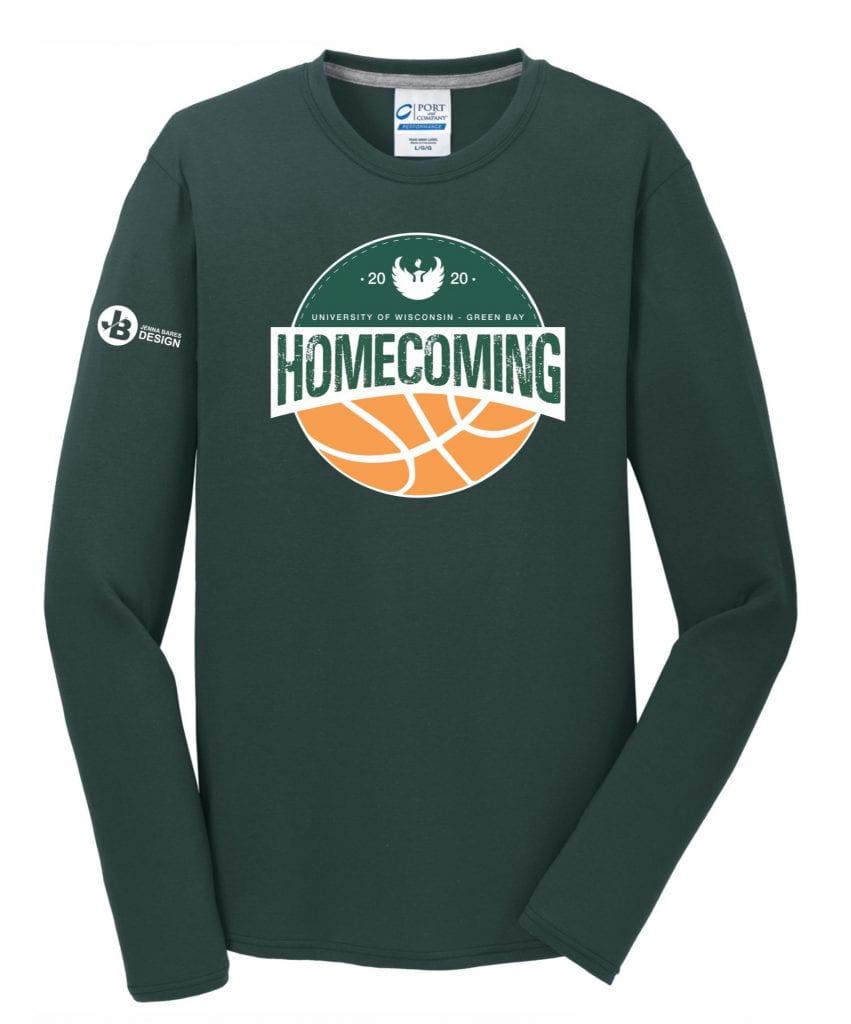 green, long-sleeve UW-Green Bay Homecoming 2020 t-shirt