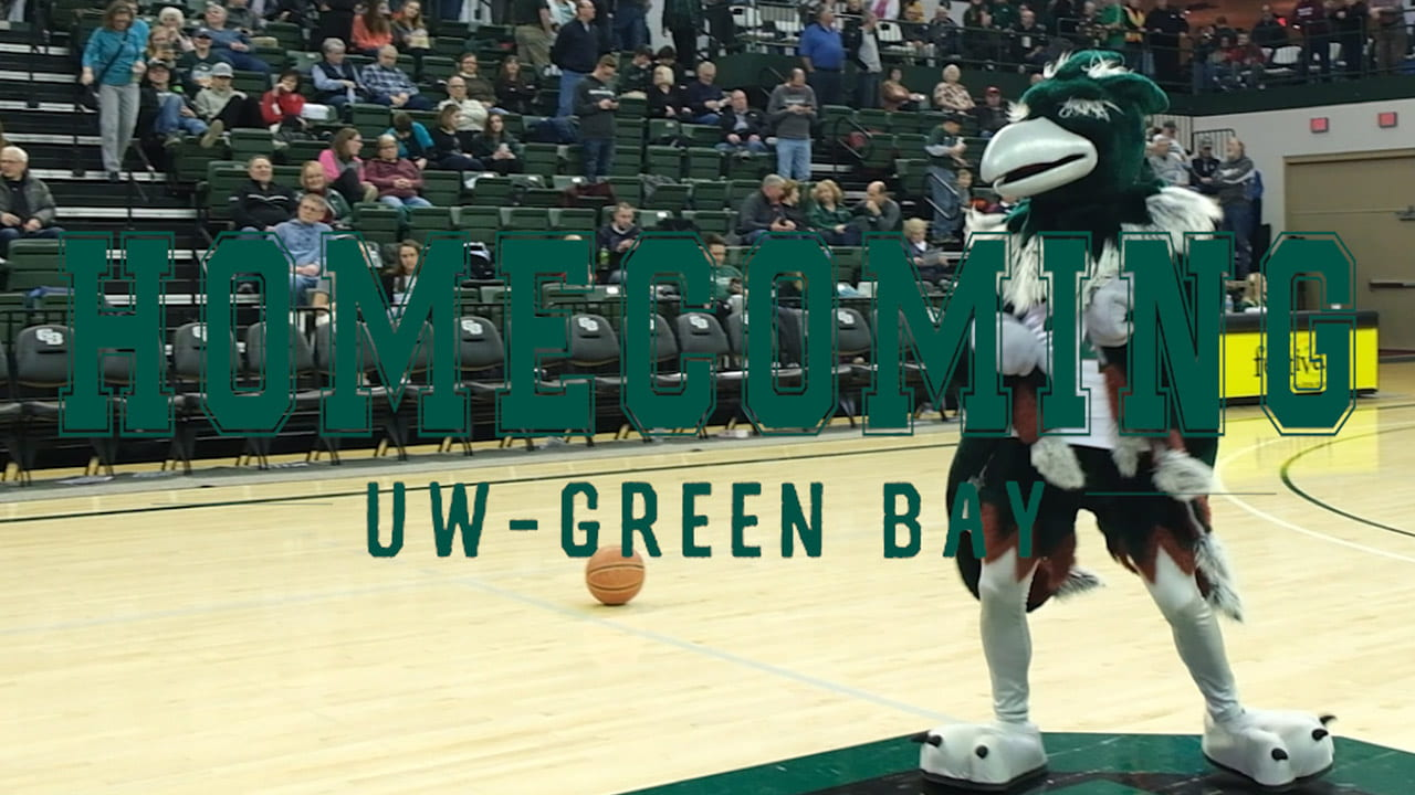 UW-Green Bay's mascot Phlash dancing on center court at the Krash the Kress event during Homecoming 2020.