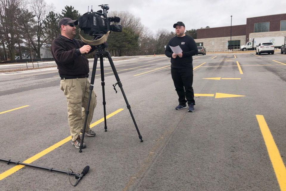 Brandon Langer interviewed by the media