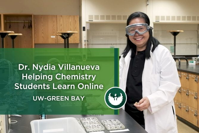 Photo with graphic title picturing Senior Lecturer Nydia Villanueva preps for an experiment on quantitative analysis in the chemistry lab at UW-Green bay, as she gets ready to teach students in Principals of Chemistry II Lab at UW-Green Bay.