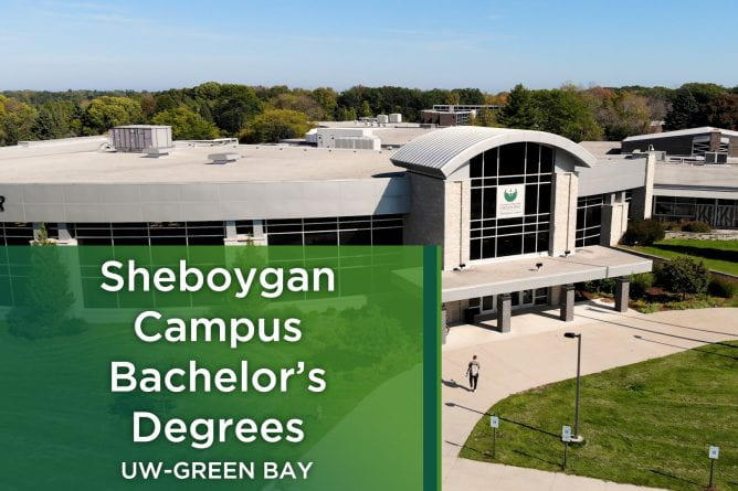 Ariel photo of a student wearing a backpack walking towards the front entrance of the UW-Green Bay Sheboygan Campus.