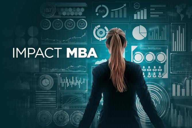 Impact MBA, woman facing away, looking at a backdrop of data visualization charts
