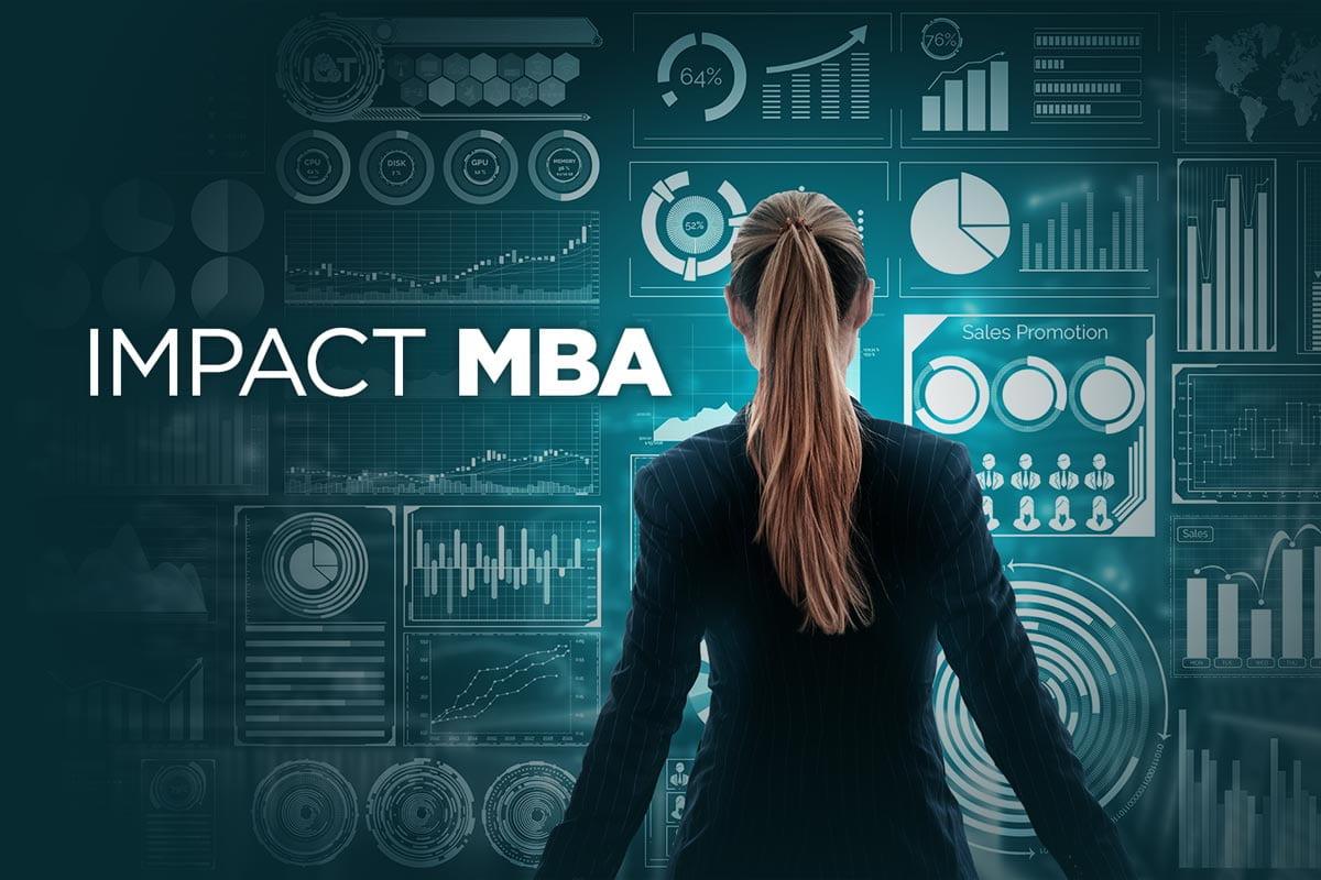 Impact MBA, woman facing away, looking at a backdrop of data visualization charts