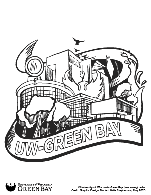 UW-Green Bay campus icons coloring page