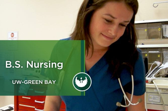 Photo of an UW-Green Bay nursing student at Aurora Hospital during nursing training.
