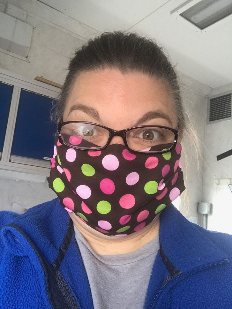 Jennie Morehead wearing a face mask