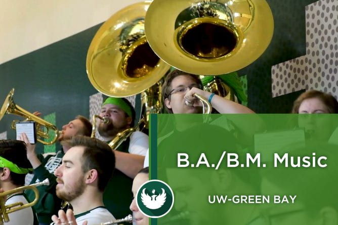Photo of the UW-Green Bay Pep Band playing music during a Women's Basketball game in the Kress Center.