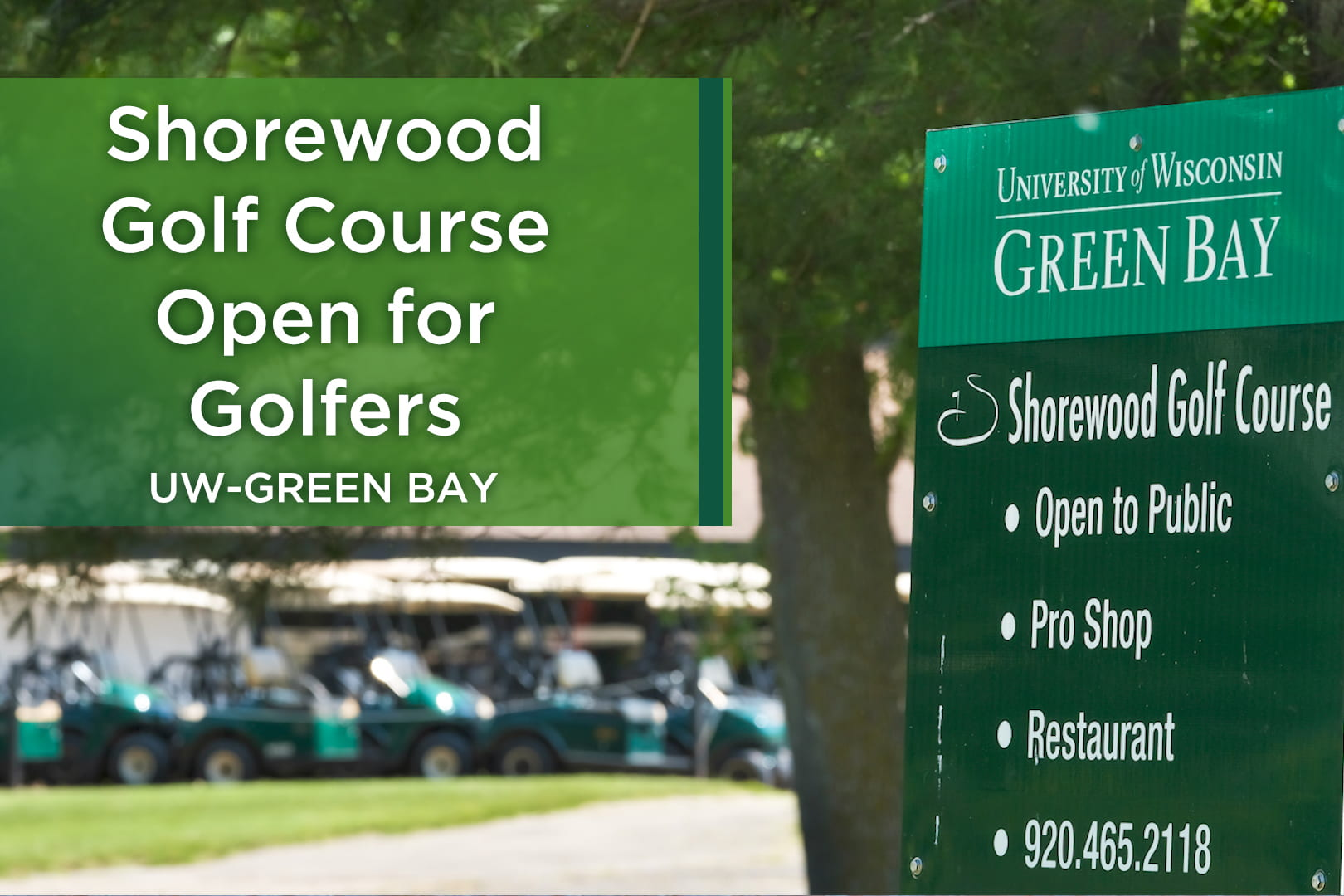 Photo of golf carts and the welcome sign at Shorewood Golf Course in Green Bay, WI.