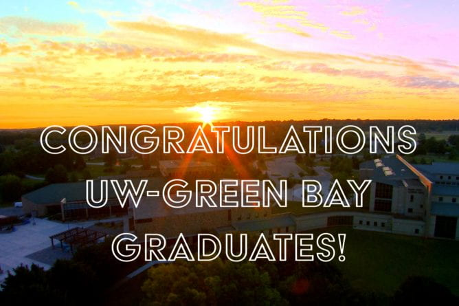 Aerial photo of a sunset over the UW-Green Bay campus.