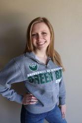 Education student, Taylor Schreiber wearing a UW-Green Bay sweatshirt
