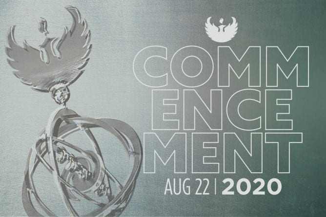 "Graphic showing the UW-Green Bay phoenix and the words, ""Commencement Aug 22, 2020."""