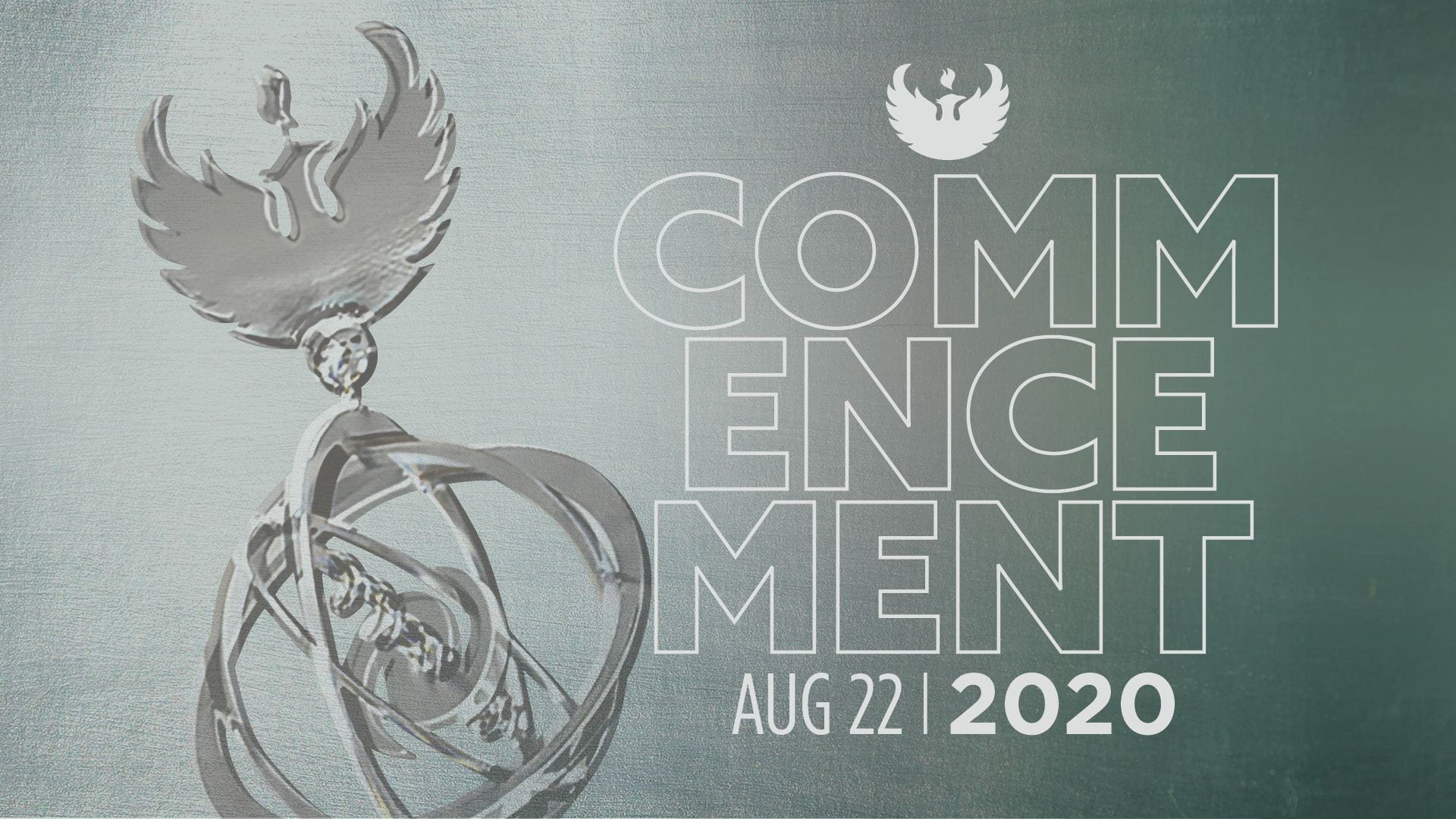 """Graphic showing the UW-Green Bay phoenix and the words, """"Commencement Aug 22, 2020."""""""