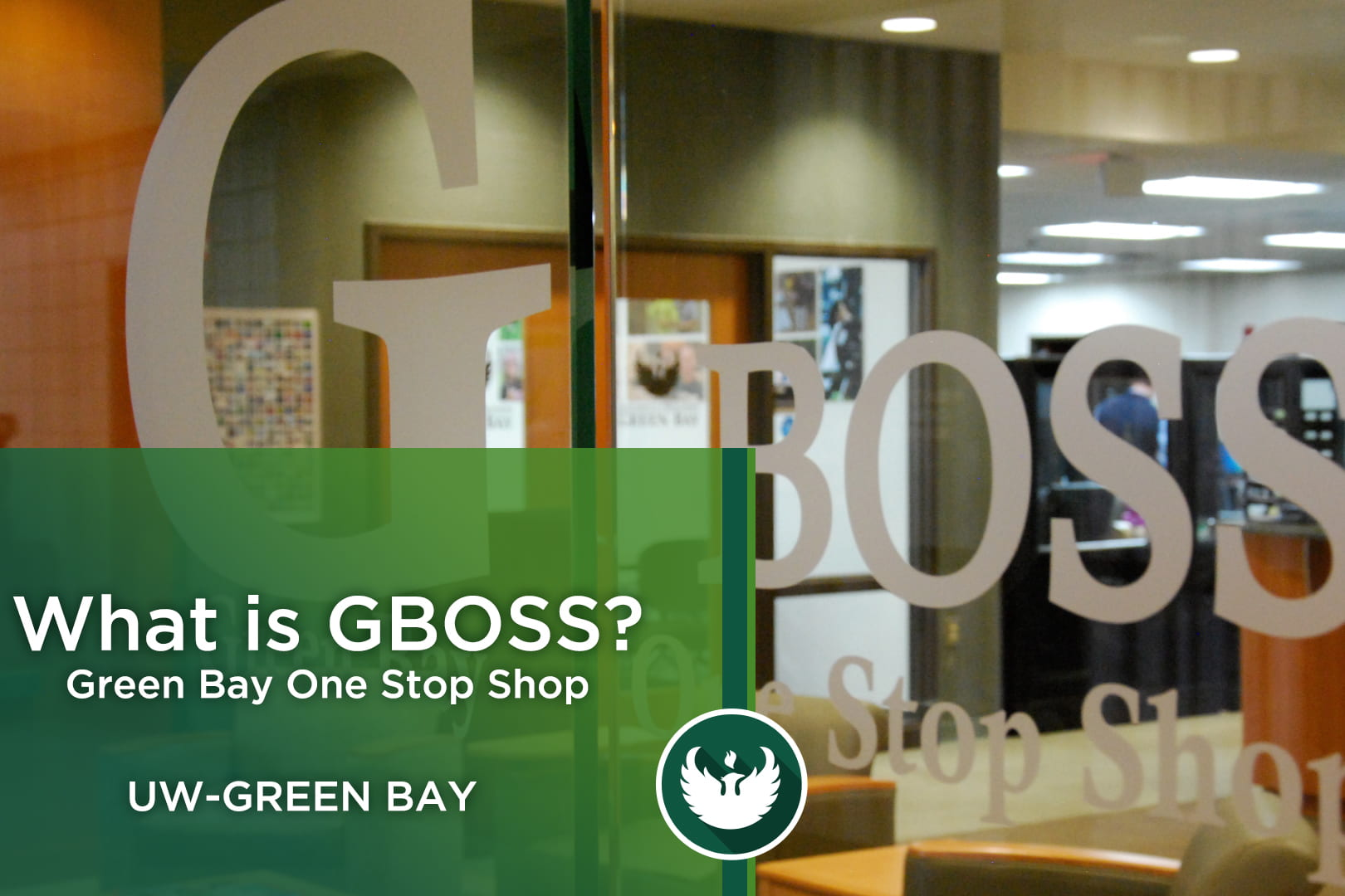 """Photo of the front glass entrance to GBOSS or """"Green Bay One Stop Shop."""""""
